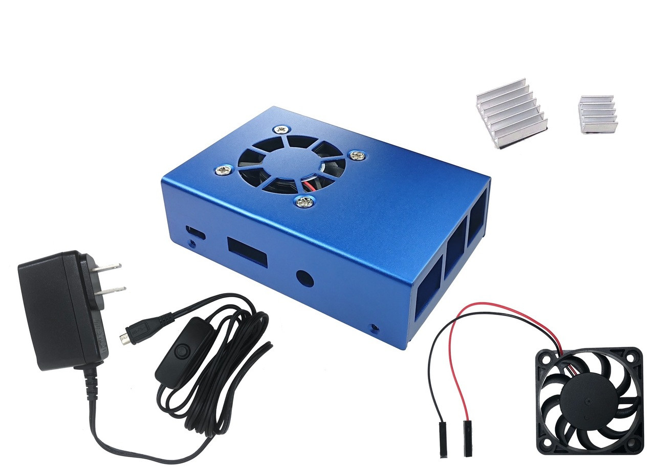 Aluminum Raspberry Pi 3 Case for Model B/B+ with Fan, Heatsinks and UL Approved On/Off Power Adapter - Blue