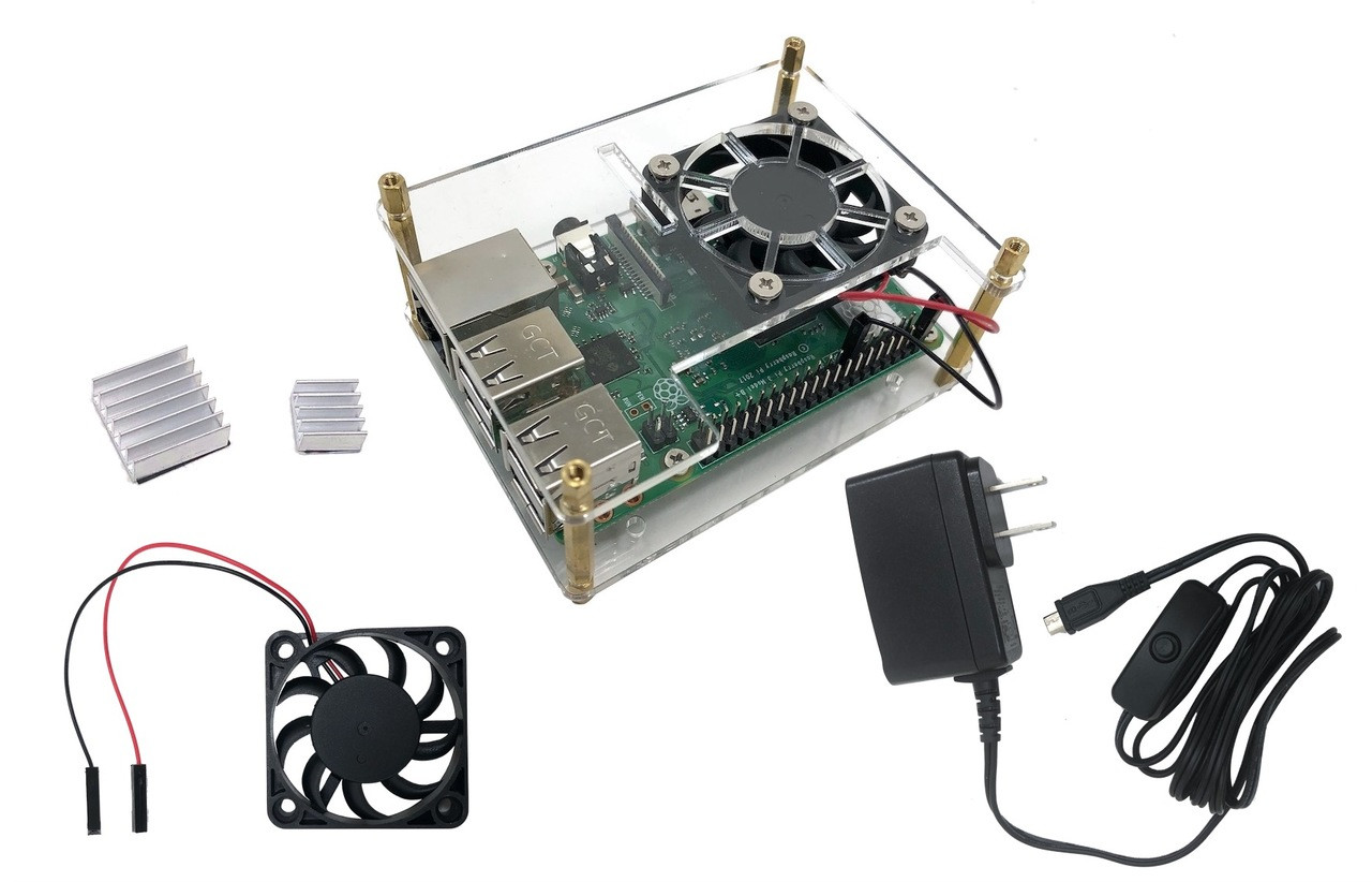 Stackable Acrylic Raspberry Pi 3 Case for Model B/B+ with Fan, Heatsinks and UL Approved On/Off Power Adapter - Clear