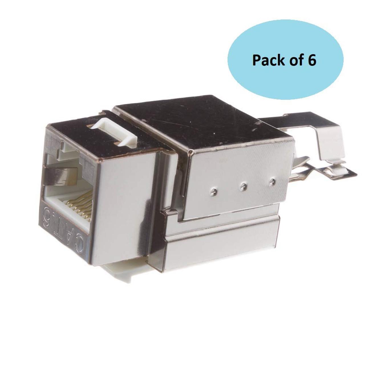 Shielded CAT6 Keystone Jack - 6 Pack