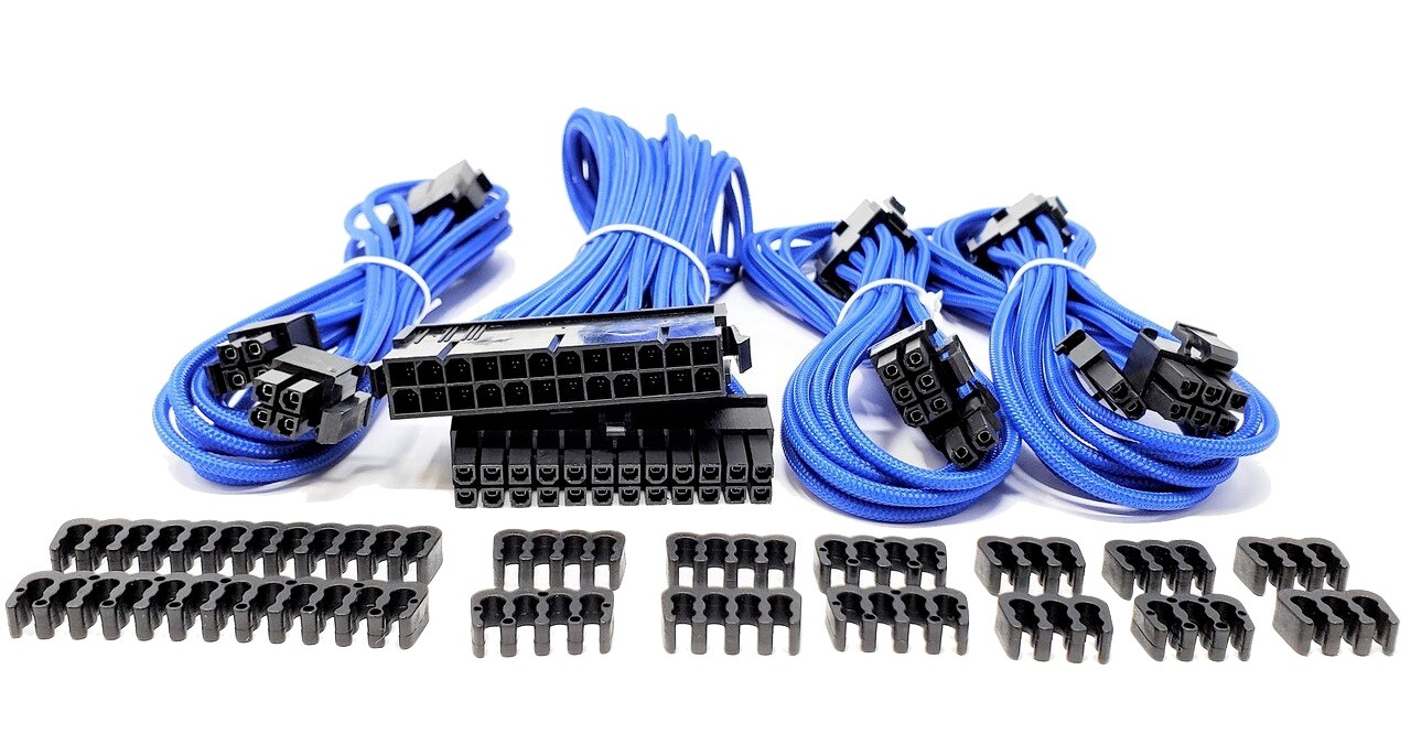 Premium Sleeved PSU Cable Extension Kit (Blue)
