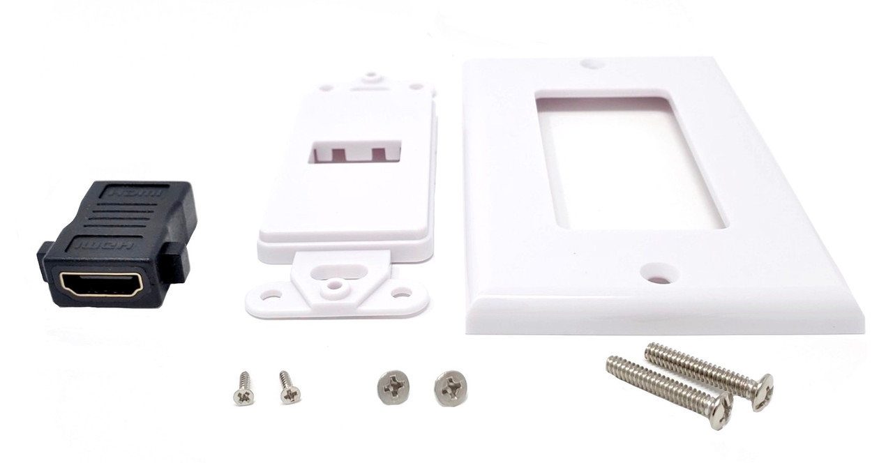 Single Outlet Female HDMI Wall Plate (White)