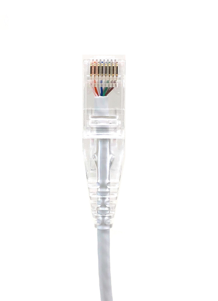 Micro Connectors, Inc. 7 ft Ultra Slim CAT 6 Patch Cable (28AWG) -White