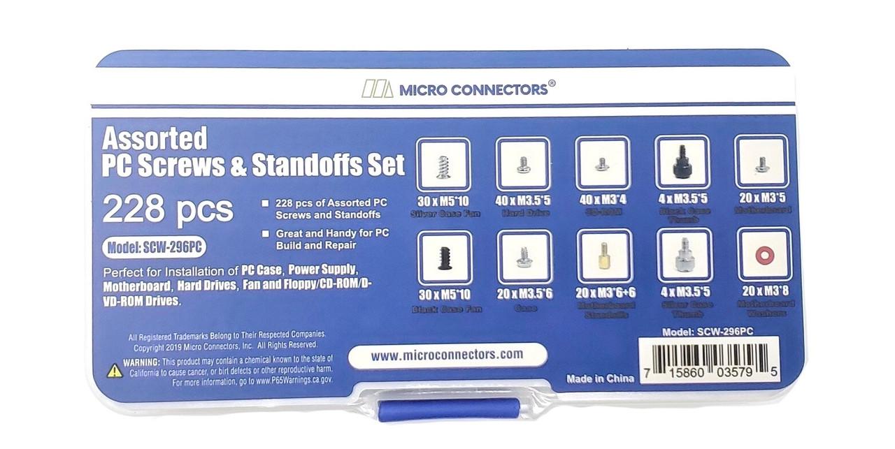 228 pcs PC Computer Screws Assortment Kit for Computer Hard Drive Mother Board Standoffs Fan CD-ROM Assembling
