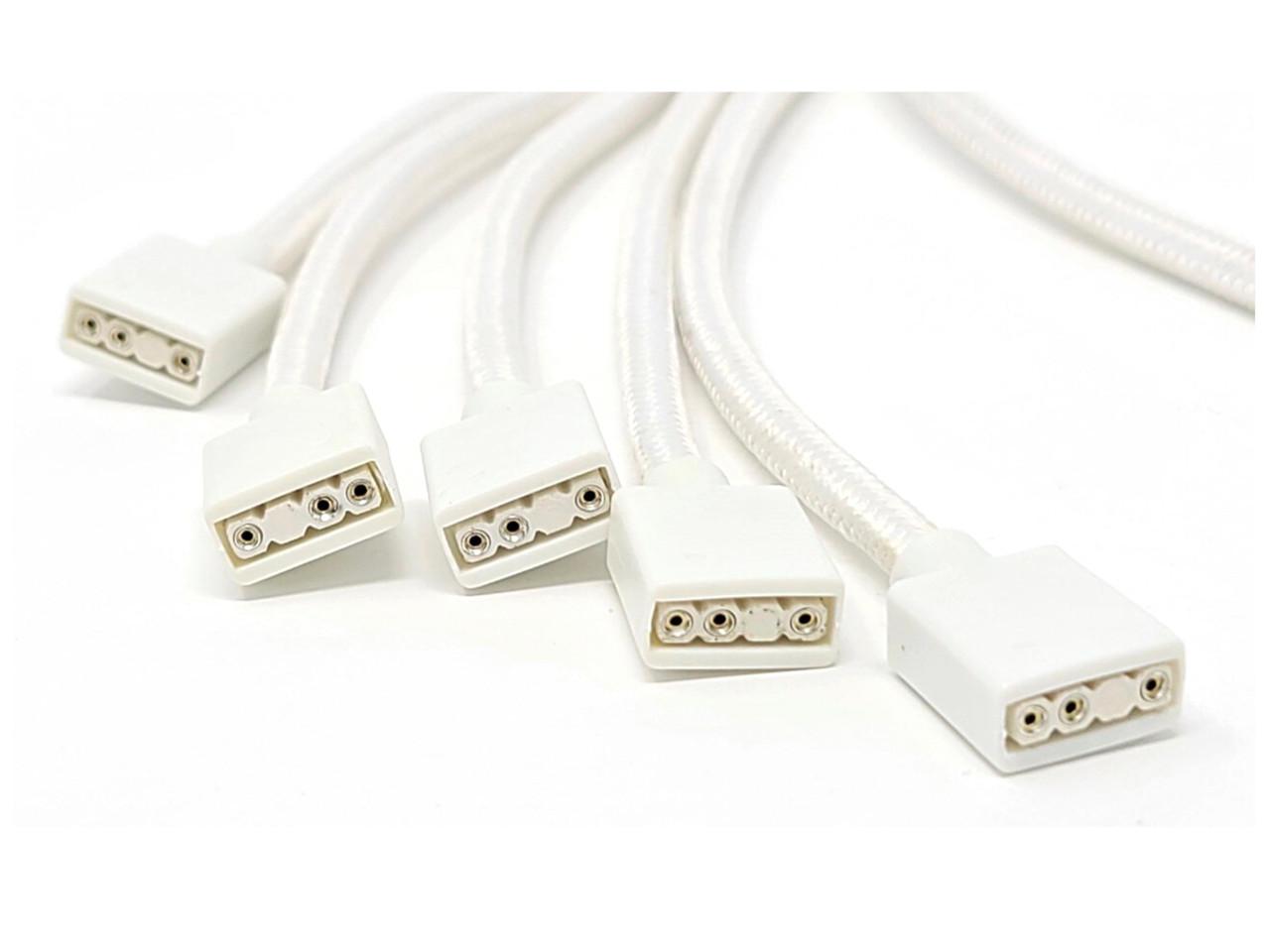 70cm Premium Sleeved 3-Pin 1 to 5 Addressable (ARGB) Splitter Cable (White)