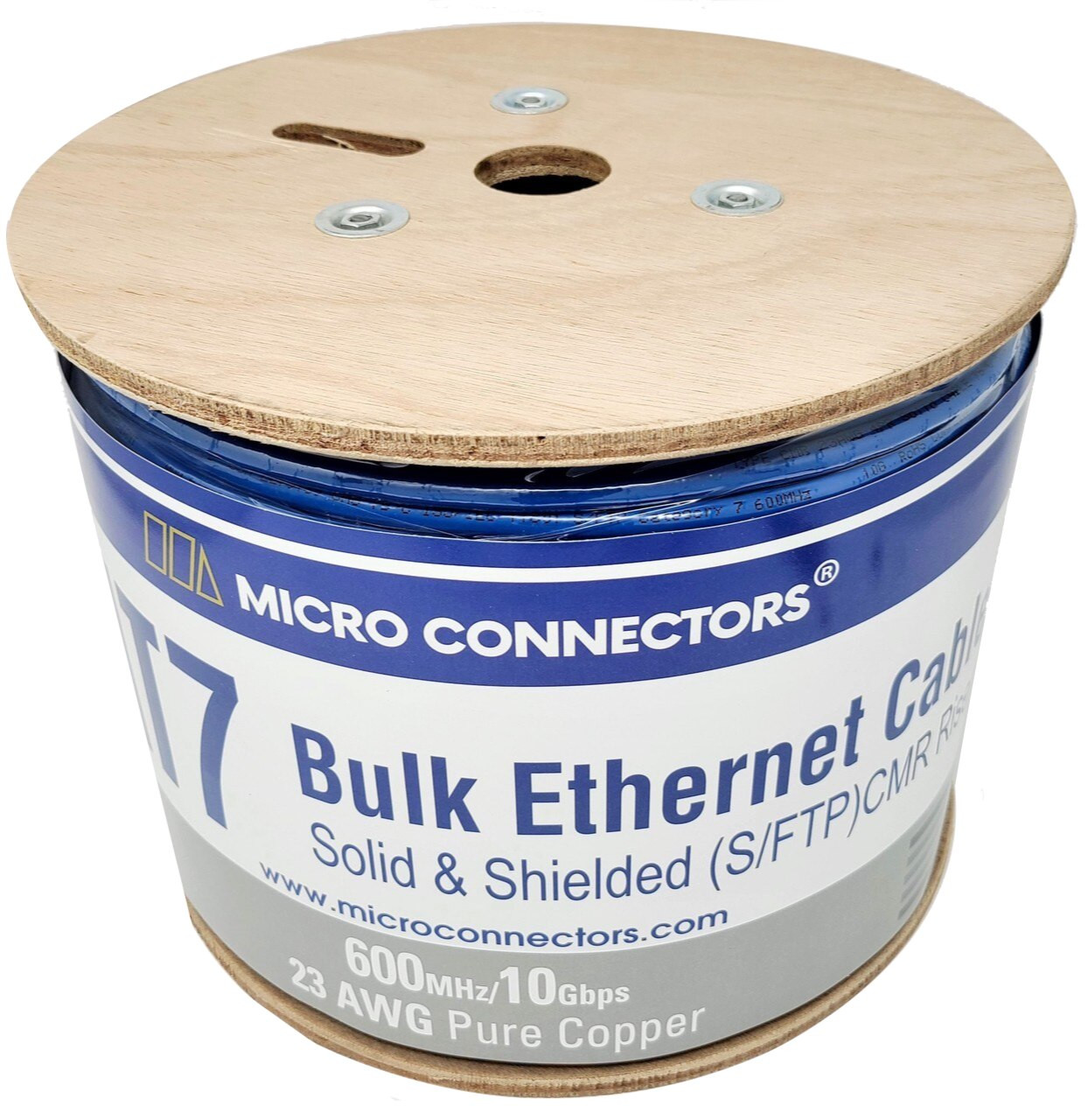 500 Feet Cat7 Bulk Ethernet 23AWG Cable Solid & Shielded (S/FTP) CMR Riser (Blue)