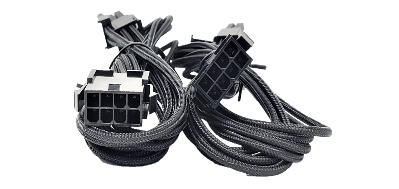 Premium Sleeved 8 (6+2) Pin PCI-e GPU Power Extension Cable – 45cm (1.5ft) / Black / 2 Pack