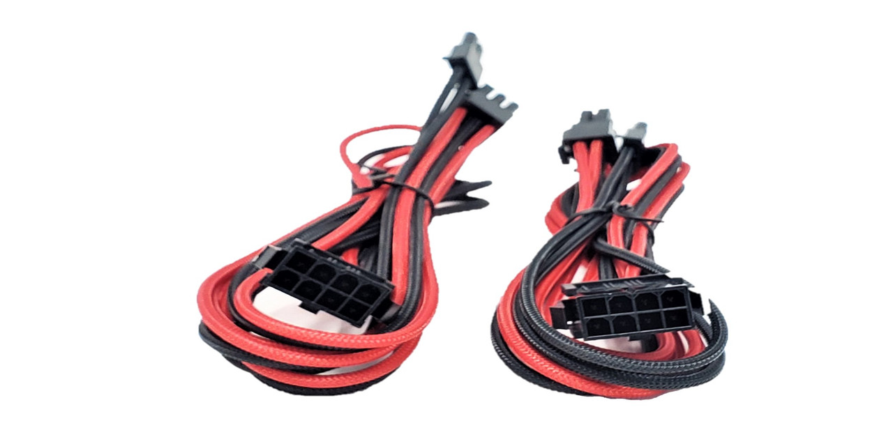 Premium Sleeved 8 (6+2) Pin PCI-e GPU Power Extension Cable – 45cm (1.5ft) – Red/Black / 2 Pack