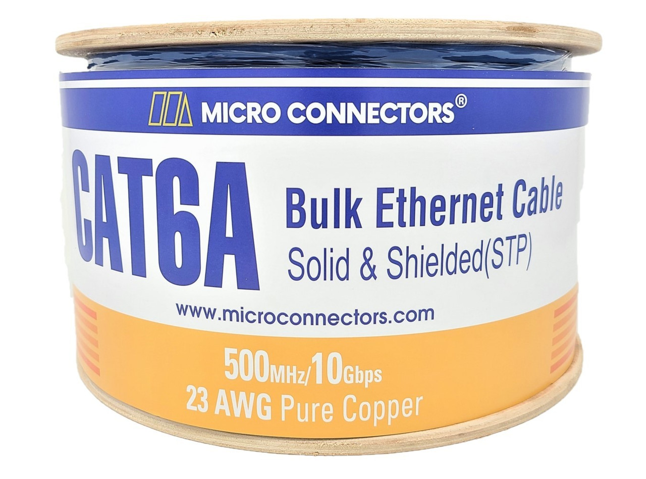 500 Feet Cat6A Solid-Shielded (STP) Bulk Ethernet (23AWG) Cable (Blue) with 20 cat6A/7 Connectors