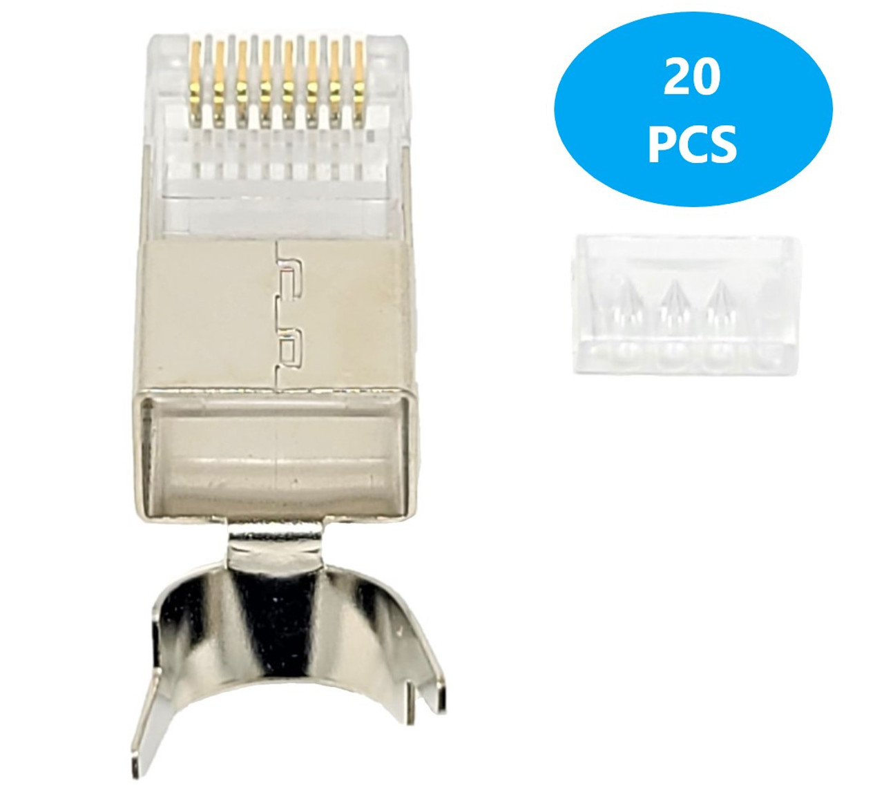 500 Feet Cat6A Solid-Shielded (STP) Bulk Ethernet (23AWG) Cable (Gray) with 20 cat6A/7 Connectors