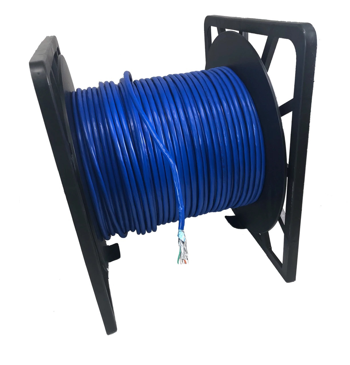 500 Feet Cat6A Stranded-Double Shielded (STP) Bulk Ethernet (26AWG) Cable (Blue) with 20 cat6A/7 Connectors