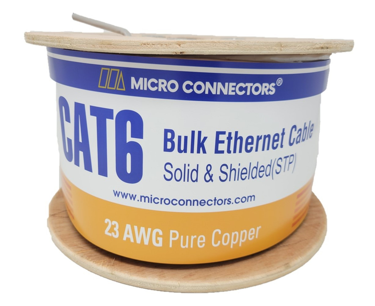 500 Feet Cat6 Solid-Shielded (STP) Bulk Ethernet (23AWG) Cable (Gray) with 20 cat6A/7 Connectors