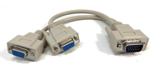 """VGA """"Y"""" Splitter - (1) HD15M to (2) HD15 F - 1ft"""