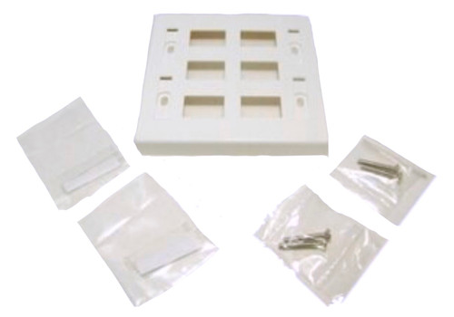 6-Port Double Gang Wall Plate (White)