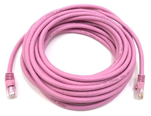 25ft Cat6 Molded Snagless RJ45 UTP Networking Patch Cable (Pink)