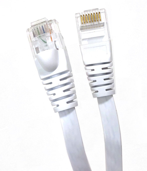 Category 6 UTP RJ45 Flat Patch Cable White - 25 ft