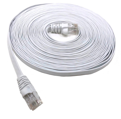 25ft Cat6 UTP RJ45 Flat Patch Cable (White)