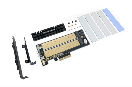 M.2 NVMe + M.2 SATA 110mm SSD PCIe x4 Adapter with Heat Sink