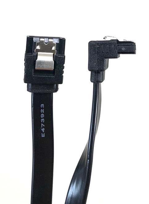 "20"" SATA III 6 GB/s 180° (Straight) to 90° (Right Angle) Cable w/Locking Latch - Black"