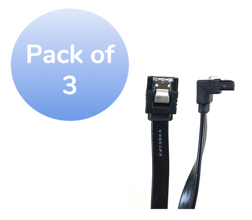 "40"" SATA III 6 GB/s 180° (Straight) to 90° (Right Angle) Cable w/Locking Latch - 3 Pack - Black"