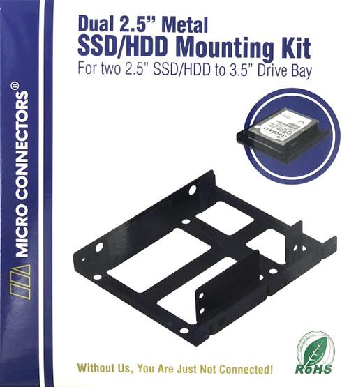 """Dual 2.5"""" Metal HDD/SSD Mounting Bracket Kit"""