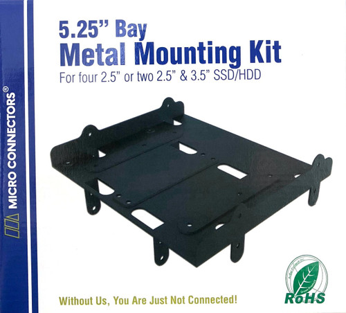 "Four 2.5"" or Dual 2.5""/Single 3.5"" Metal HDD/SSD Mounting Bracket Kit"