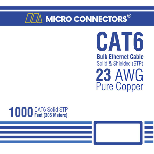 CAT 6 Solid STP Bulk Ethernet Cable Blue - 1000 ft box