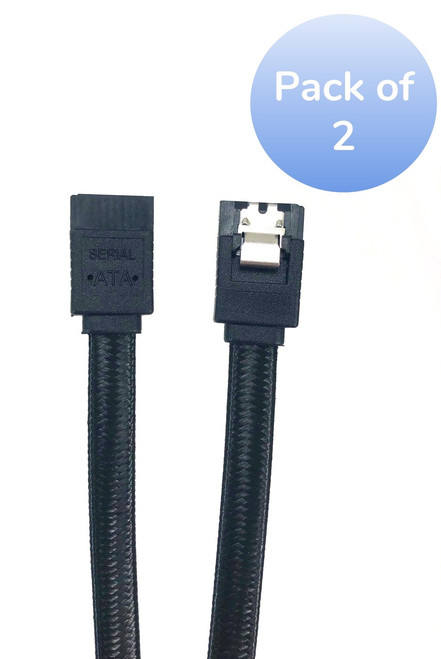 """2-Pack 40"""" SATA III Straight Sleeve Cable with Locking Latch - Black"""