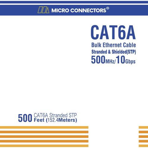 500 Feet Cat6A Stranded STP Bulk Ethernet 26AWG Cable (Blue)