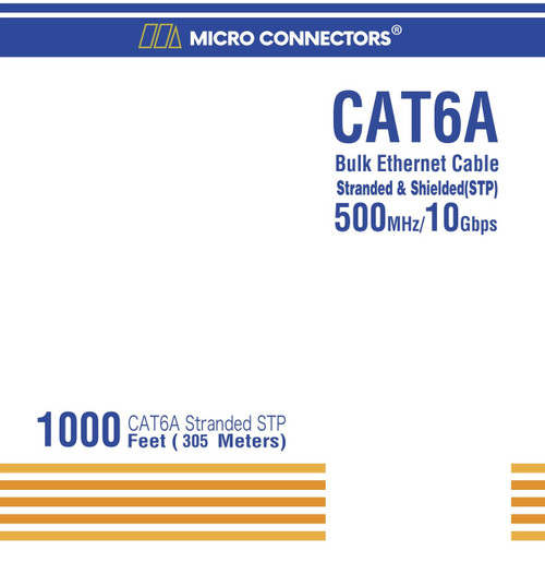 1000 Feet Cat 6A Stranded STP Bulk Ethernet 26AWG Cable (Blue)
