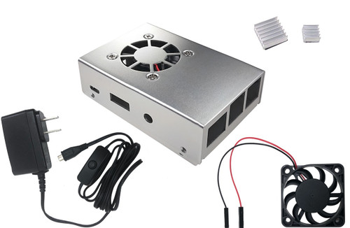 Aluminum Raspberry Pi 3 Case for Model B/B+ with Fan, Heatsinks and UL Approved On/Off Power Adapter - Silver