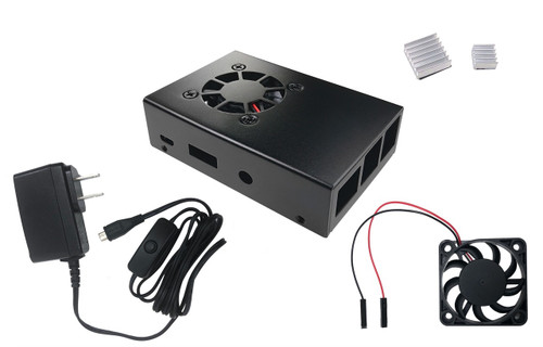 Aluminum Raspberry Pi 3 Case for Model B/B+ with Fan, Heatsinks and UL Approved On/Off Power Adapter - Black