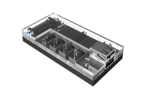 Acrylic Internal USB 2.0 Hub with Magnetic Base