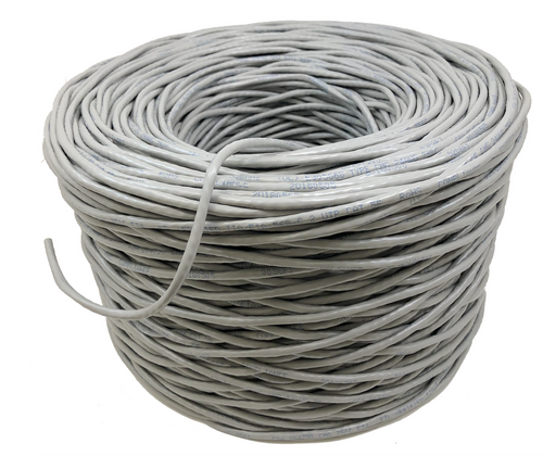Micro Connectors, Inc. 1000FT 24AWG Cat5e 350MHz UTP Stranded, In-Wall Rated (CM), Bulk Ethernet Bare Copper Cable - Gray