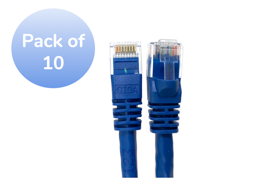 Micro Connectors, Inc. 3-feet Cat 6 Molded Snagless UTP RJ45 Networking Patch Cable - Blue - 10 Pack
