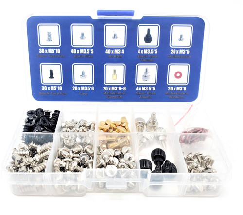 228 pcs PC Computer Screws Assortment Kit for Computer Hard Drive Mother Board Standoffs Fan CD-ROM Assembling