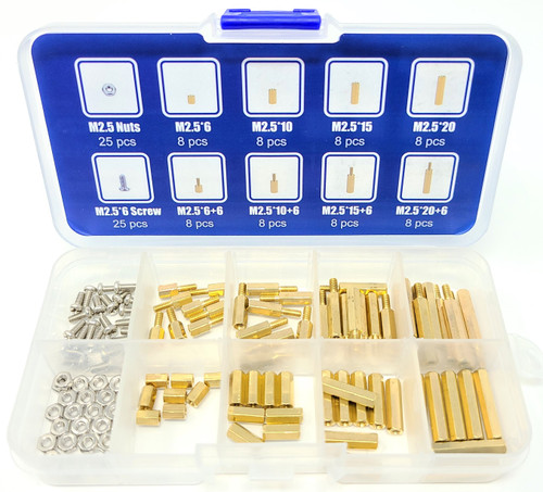 114pcs Assorted M2.5 Standoff Kit for Raspberry Pi and Single Boards