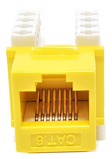 Cat6 Punch Down Keystone Jack (Yellow, 10 Pack)