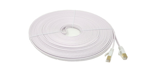 25ft Cat7 Shielded RJ45 Flat Patch Cable with Cable Clips (White)