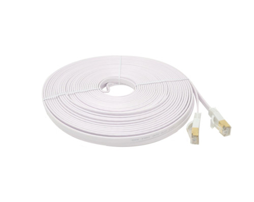 50 Feet Cat7 Shielded RJ45 Flat Patch 32AWG Cable with Cable Clips (White)