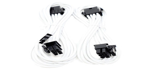 Premium Sleeved 8 (6+2) Pin PCI-e GPU Power Extension Cable – 45cm (1.5ft) / White / 2 Pack