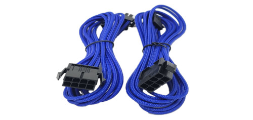 Premium Sleeved 8 (6+2) Pin PCI-e GPU Power Extension Cable – 45cm (1.5ft) / Blue / 2 Pack