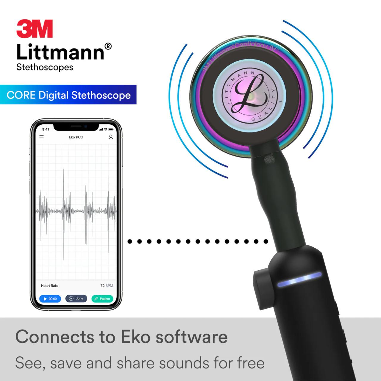 3M Littmann CORE Digital Stethoscope, Rainbow Black, 8570