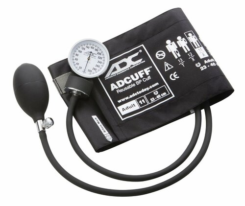 ADC Prosphyg 760 Pocket Aneroid Sphygmomanometer, Adult Cuff in Black