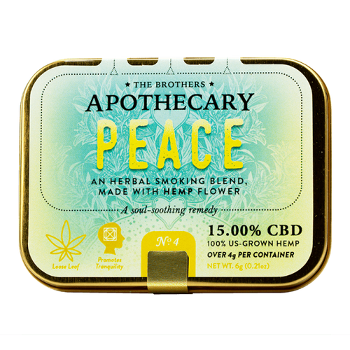 Brothers Apothecary   Peace   Herbal Hemp CBD Smoking Blend   4gm  $29.99