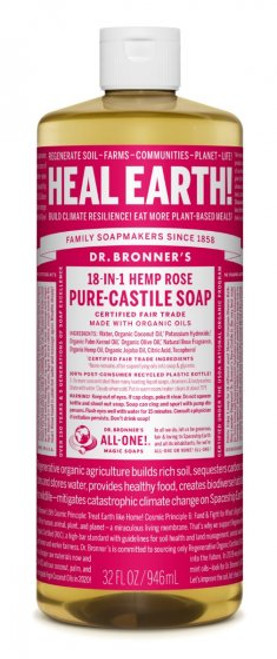 Dr. Bronners | Rose | Pure-Castile Liquid Soap | 8oz