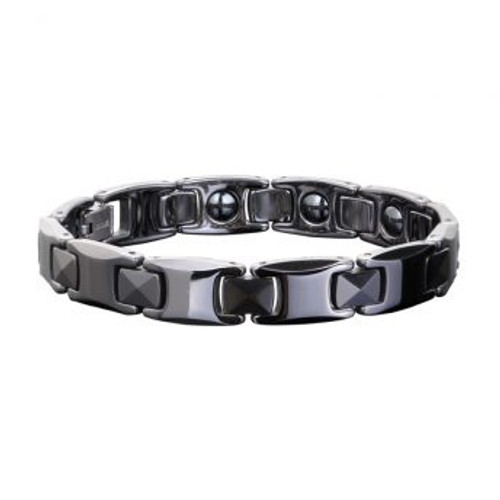 Ceramic Unisex Magnetic Power Bracelets | Hematite Magnets and Negative Ions | Black