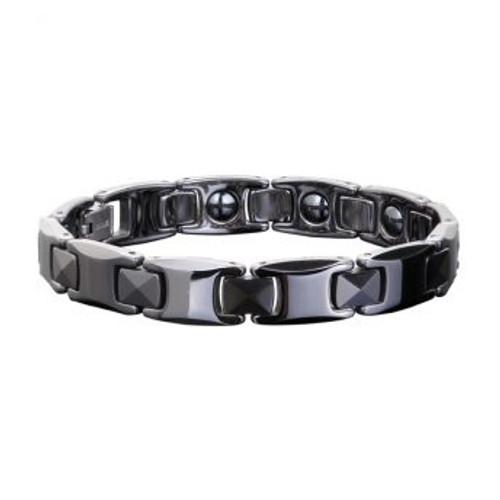 Ceramic Unisex Magnetic Power Bracelets | Hematite Magnets and Negative Ions | Black