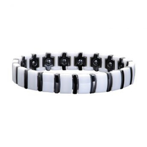 Ceramic Unisex Magnetic Power Bracelet | Hematite Magnets + Negative Ions | White and Black