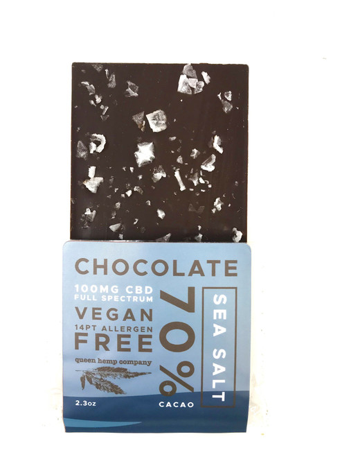 Queen Hemp Company | CBD Infused Chocolate Bar | Sea Salt | 100mg | 6oz