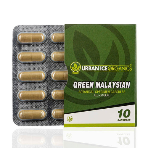 Urban Ice Organics | Kratom Capsules | Green Malaysian | 10 Ct., Urban Ice Organics Green Malaysian Blister Pack    (.50 grams per capsule)  Ingredients  100% Pure Mitragyna Speciosa Leaf  This product has not been evaluated by the FDA and is not intended to treat, prevent, cure or diagnose any disease.    You must be 21 years old to purchase.